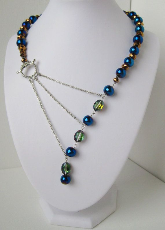Peacock Blue Green and Gold Adrienne Adelle Signature Necklace