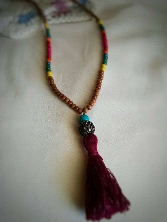 Boho Necklace with Tassel by TerisJewelryDesigns on Etsy