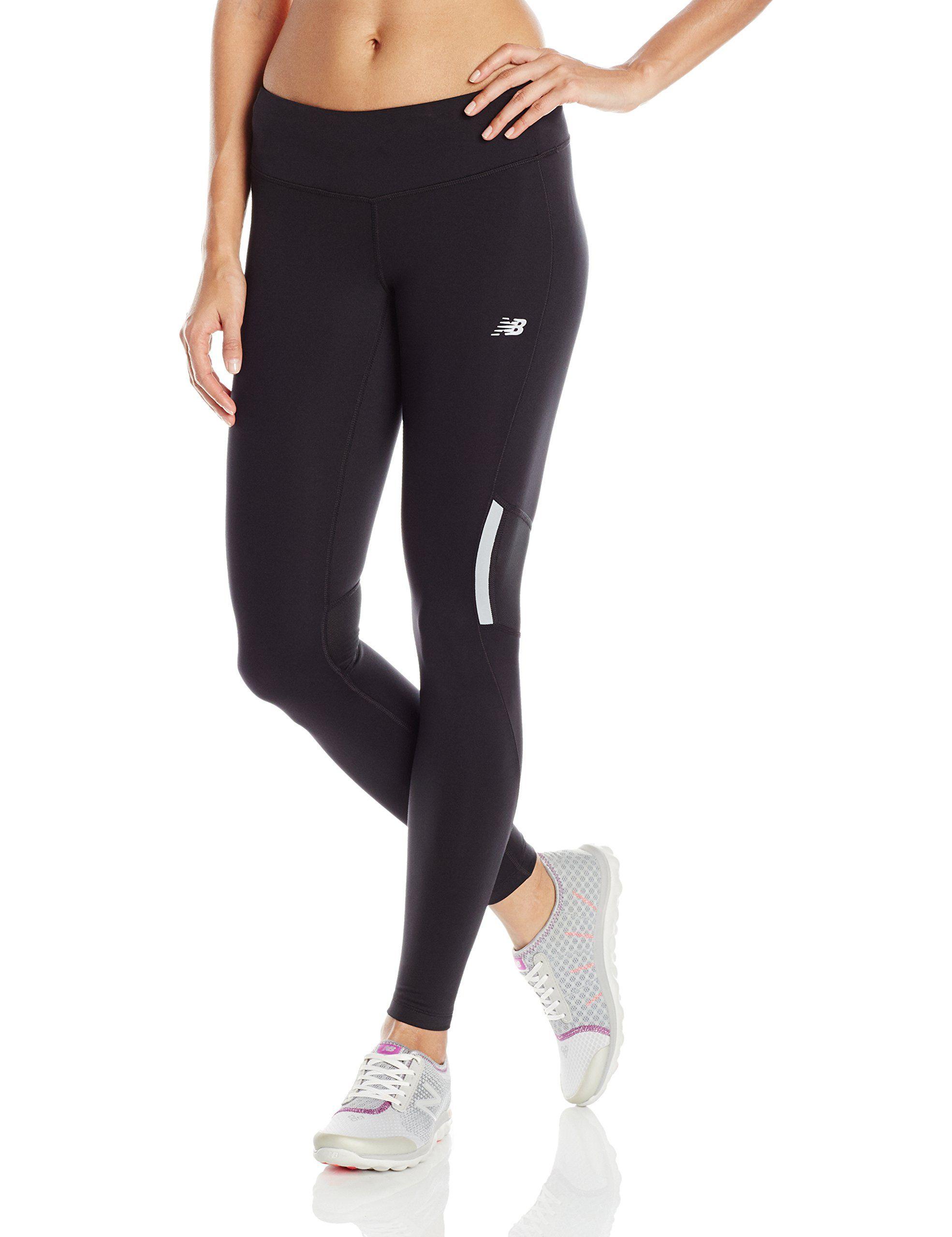 7aa2c7631edb8 New Balance Women's Run Tights, Black, Medium. Mesh panels at back knee.