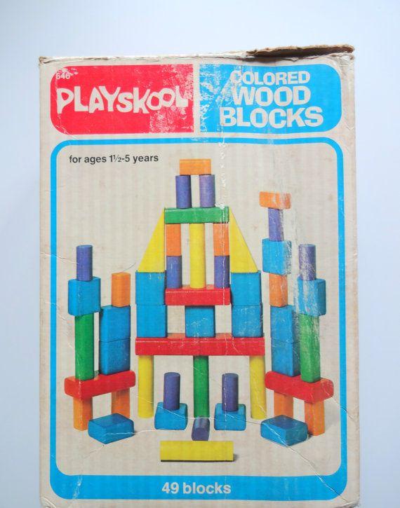 Vintage Playskool Colored Wooden Block Toy Set 1978 I Remember
