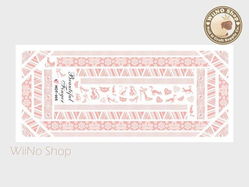Retro Texture Pattern Pink Water Slide Nail Art Decals - 1pc (HOT-005)