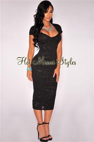 34946477eb59 Black Sweetheart Neckline Padded Midi Dress Womens clothing clothes hot  miami styles hotmiamistyles hotmiamistyles.com sexy club wear evening  clubwear ...