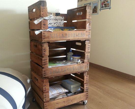 Reciclar cajas de madera estanter a reciclar cajas - Estanteria cajas madera ...