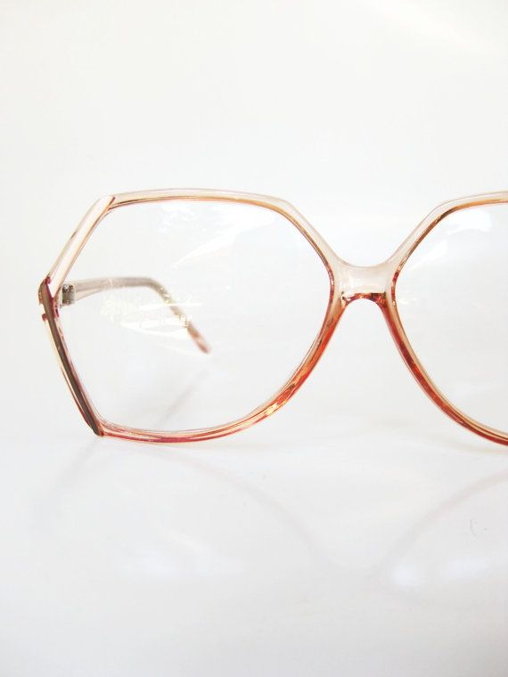 Vintage Pink Eyeglass Frames Eyeglasses Fake Clear Blush Pastel Womens Ladies Girly Oversized Angular 1970s 70s Retro Classic Hipster
