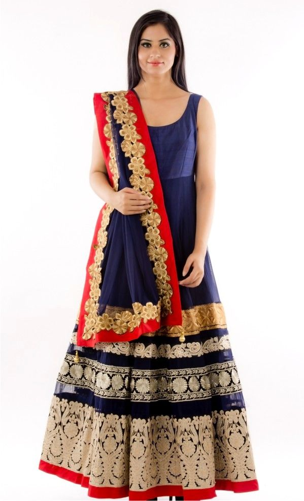 a23496b445 Navy Lacha Set Navy Blue shirt in soft net fabric with intricate designer  borders worn ove a pure raw silk lehenga in navy blue colour.