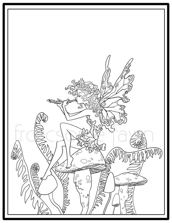 Woodland Fairy Coloring Page For Adults And Children