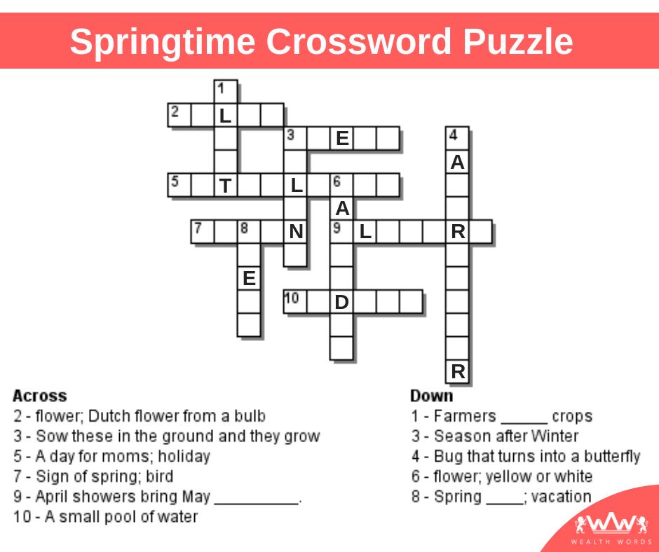 Tuesday Crossword Puzzle Spring Crossword Puzzle