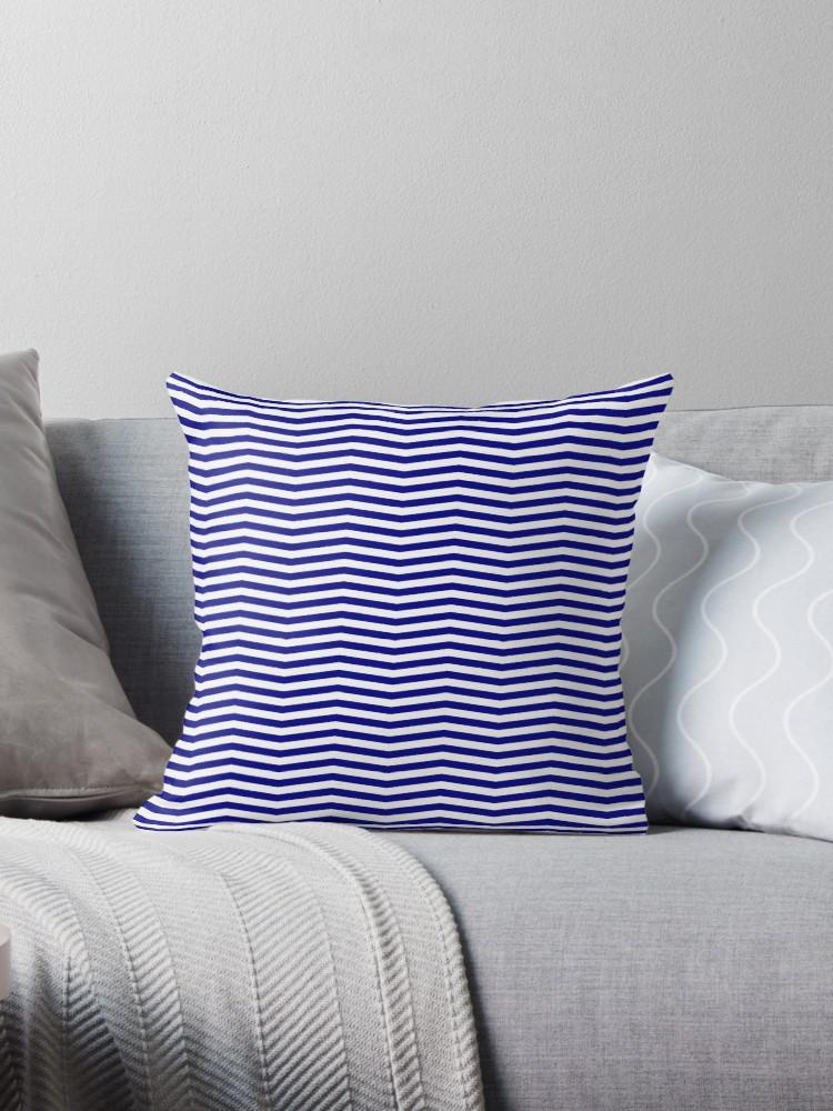 Australian Flag Blue And White Chevron Stripe Australian Flag Blue White Chevron Stripe Aus Aussie Chevron Stripe Stripe Throw Pillow Blue And White