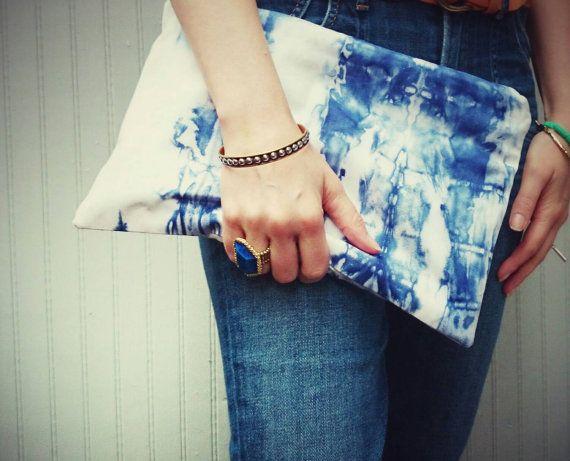 Large Indigo Shibori Clutch Purse Hand dyed slouchy pouch phone pocket handbag tablet ipad case
