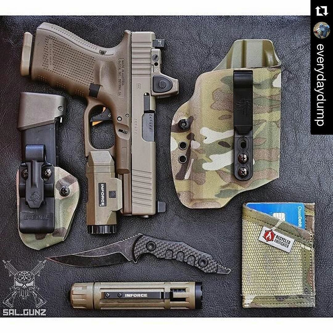 #Repost @everydaydump  From @sal_gunz Today's EDC  Glock 19 with a Trijicon RMR and a @inforce01 APL  @gcodeholsters INCOG Shadow Eclipse and spare mag carrier.  @inforce01 6vx flashlight.  @qtrmstr Starsky & Hutch  @recycledfirefighter Sergeant wallet.  #fdefriday #edc #everydaycarry #glock19 #g19 #glock #glockfanatics #glockporn #glockteam #glockperfection #9mm #inforce01 #quartermasterknives #starskyandhutch #knifeporn #knifefanatics #igmilitia #weaponsreloaded #sickguns #sickgunsallday…