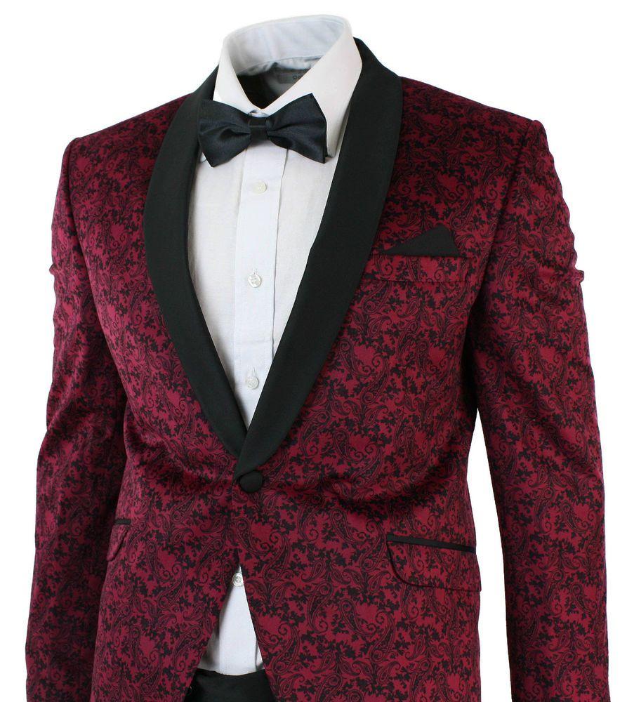 910334cbb0a4fb Mens Slim Fit Velvet Paisley Blazer & Trouser Tuxedo Dinner Suit Wine Black  | Clothes, Shoes & Accessories, Men's Clothing, Suits & Tailoring | eBay!