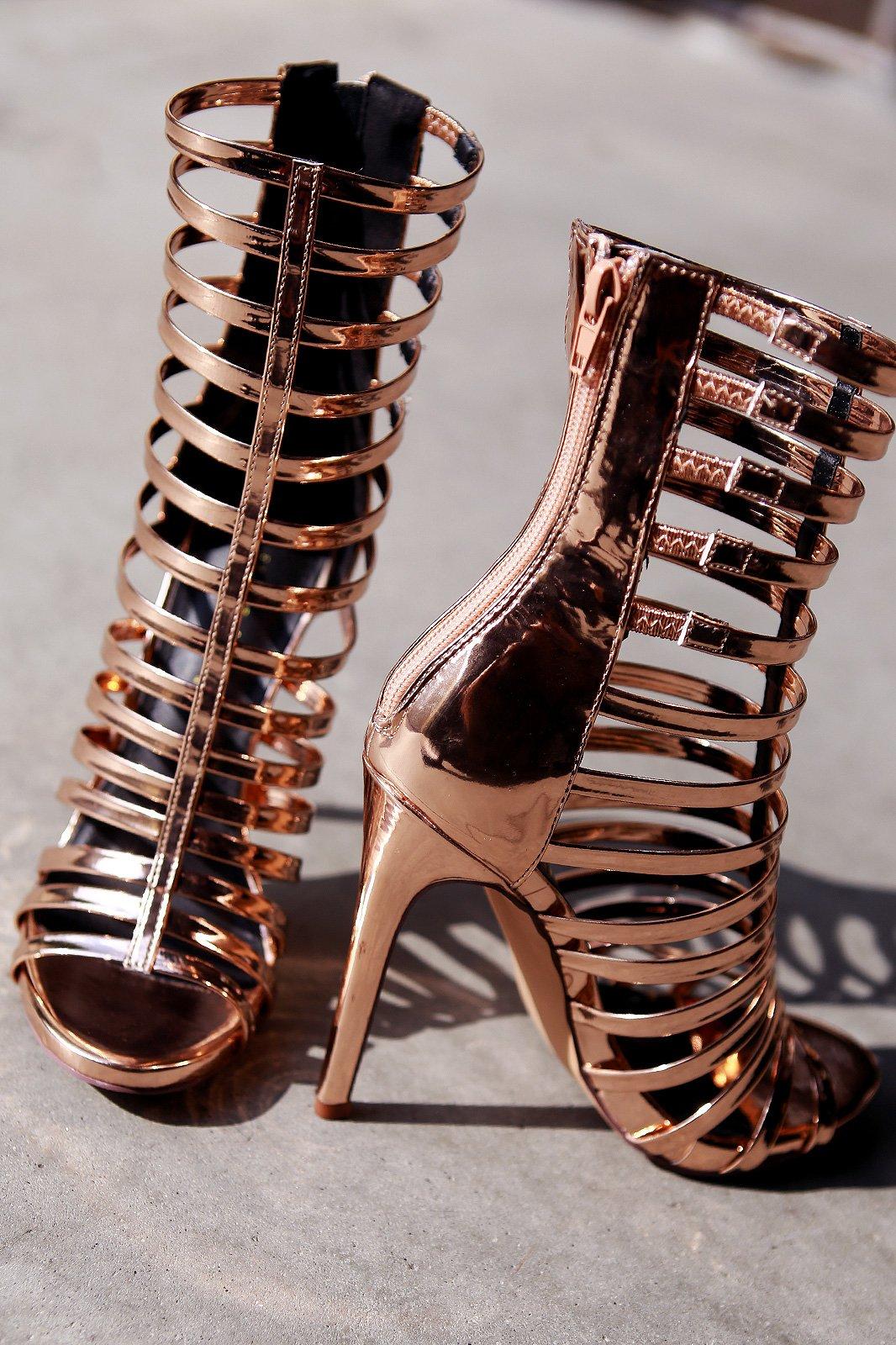 7994a4140bf Liliana Mirror Patent Strappy Gladiator Heel in 2018