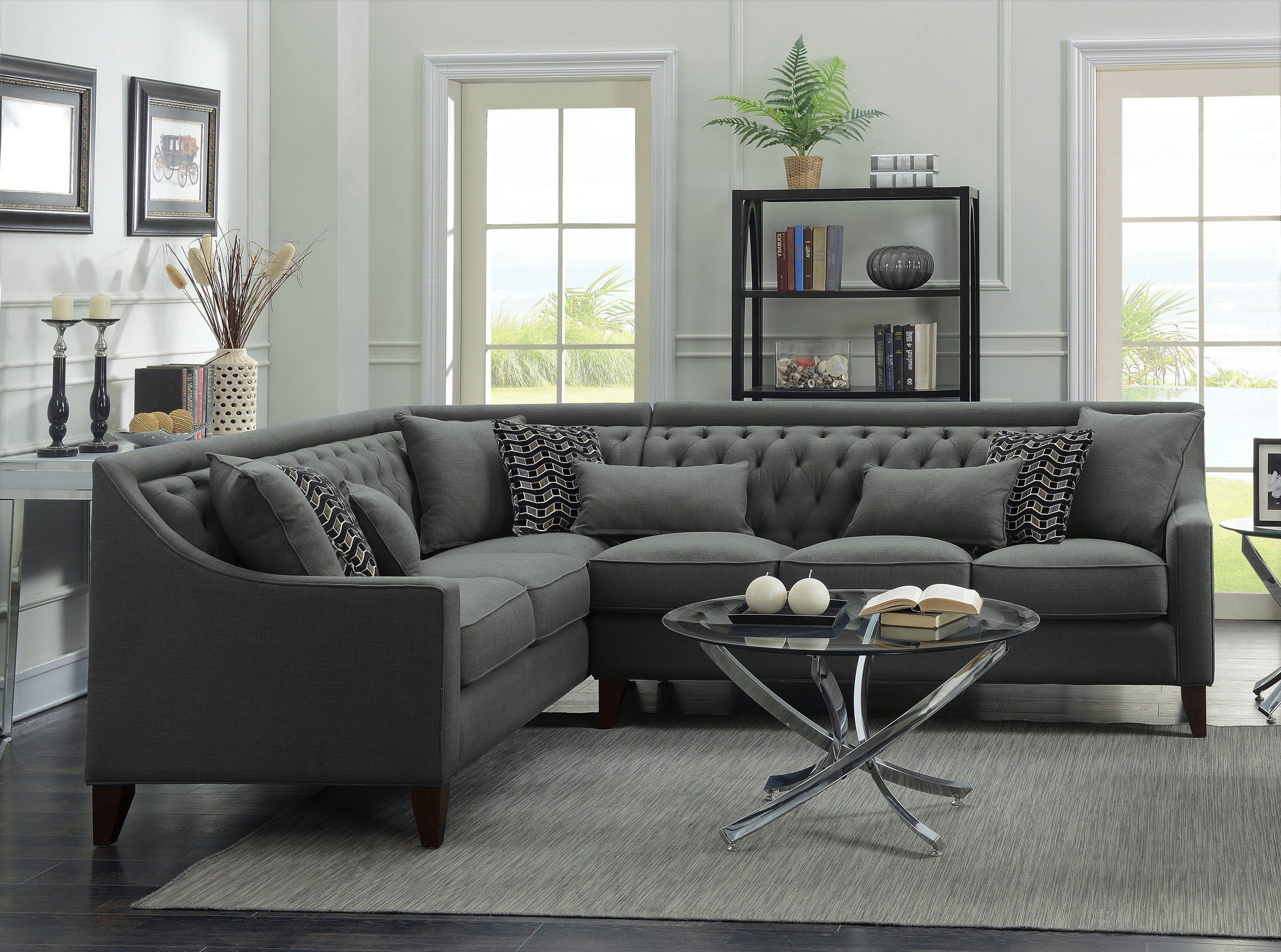 Iconic Home Aberdeen Linen Tufted Left Facing Sectional Sofa Grey
