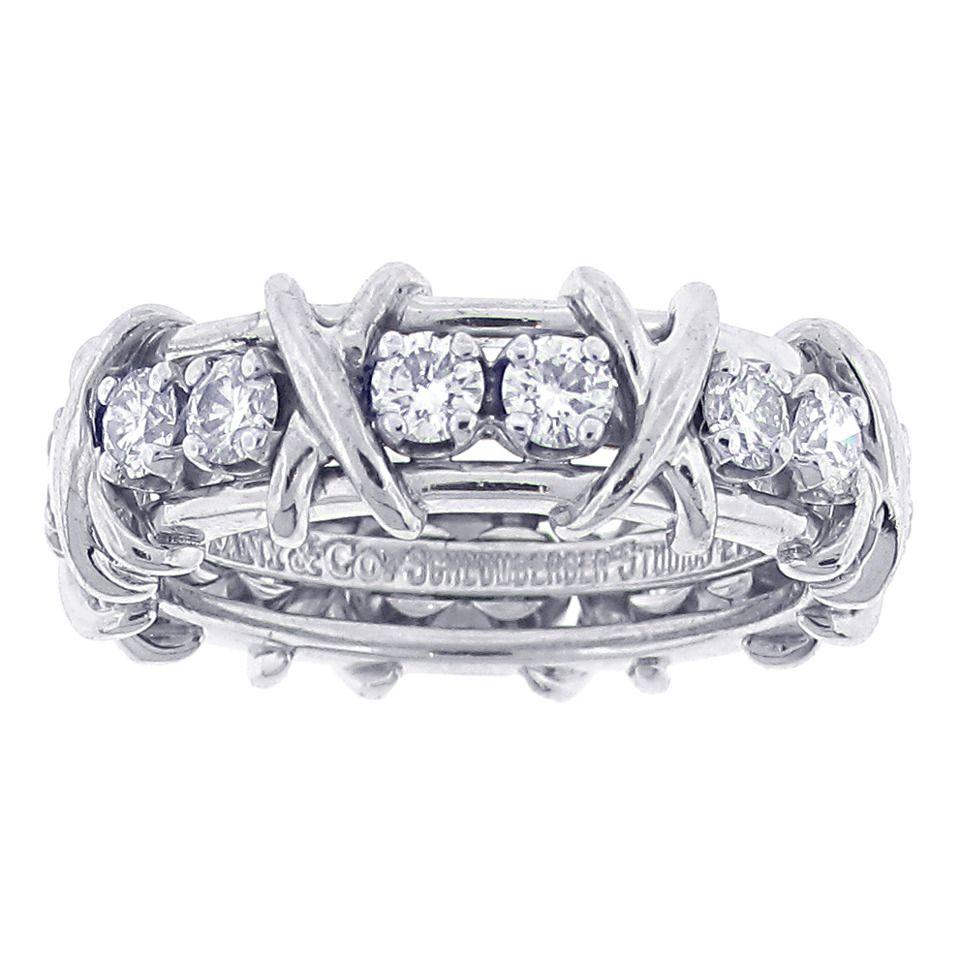 ec19408b6 Tiffany & Co. Schlumberger 16 Stone Diamond Platinum X Ring | From a  unique