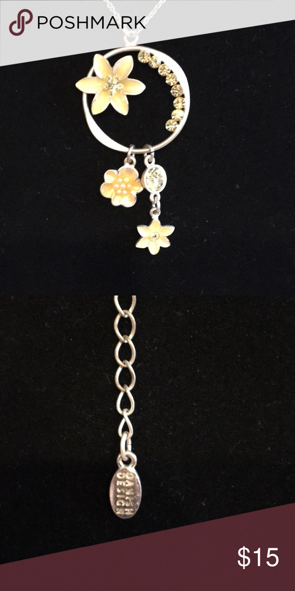 Danish Designs pendant Beautiful Silver tone pendant accented with yellow flowers. Very pretty Danish Designs Jewelry Necklaces