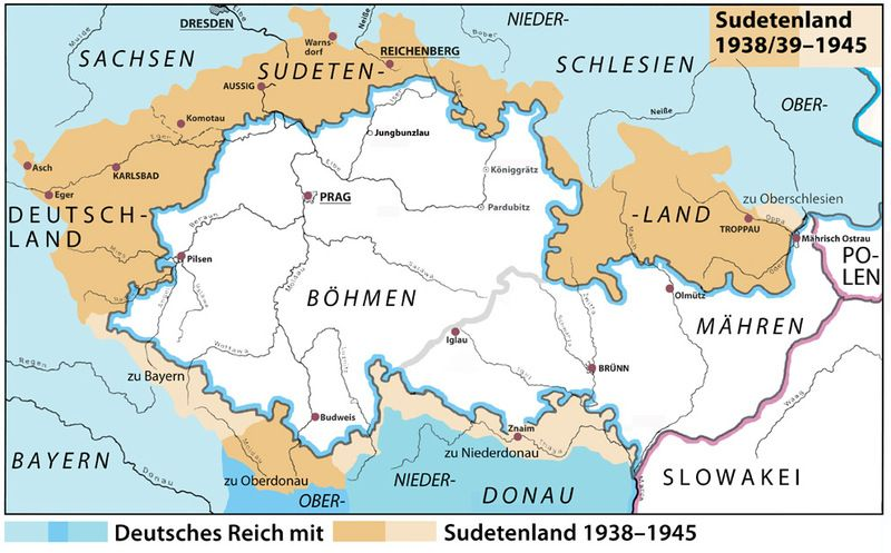 Sudetenland 19381939 1945 German Bohemia Map Historical Maps