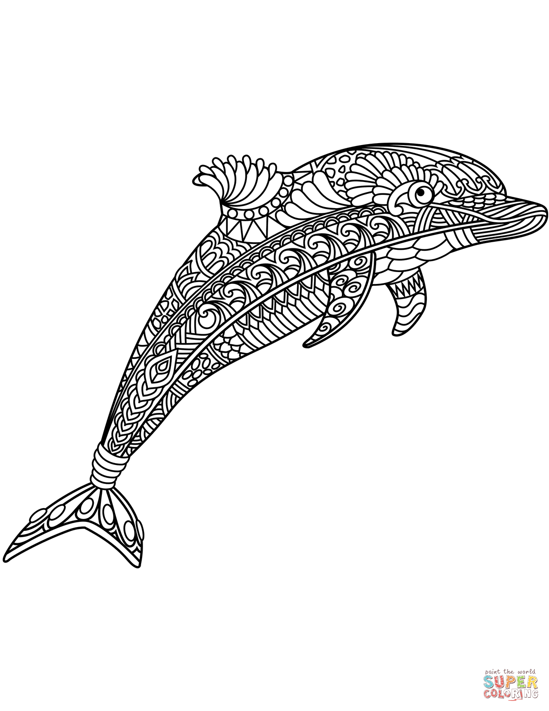 Dibujo de Delfín Zentangle para colorear | Dibujos para colorear ...