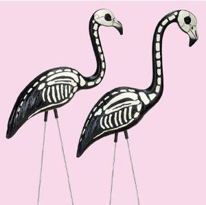 2 Skeleton Yard Flamingos Lawn Decor Ornaments Great For Haunted House Or Over The Hill Party Decorations By Pink