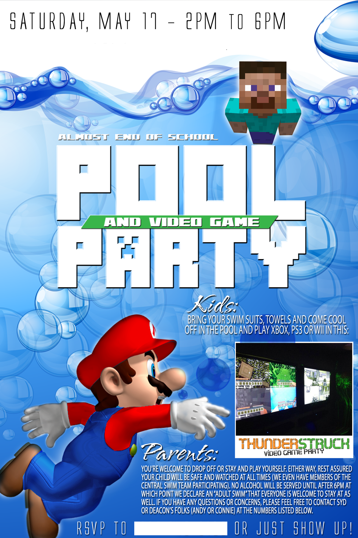 Pool Video Game Party invitation Graphic Design – Video Game Party Invitation