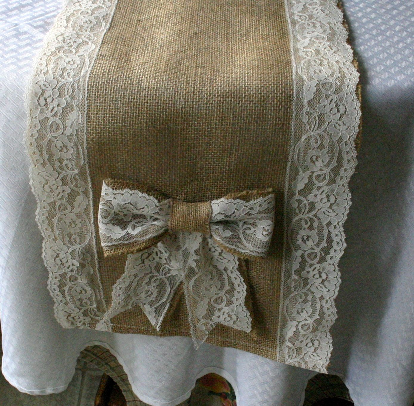 Shabby Chic Wedding Table Decorations: Burlap And Lace Table Runners, French