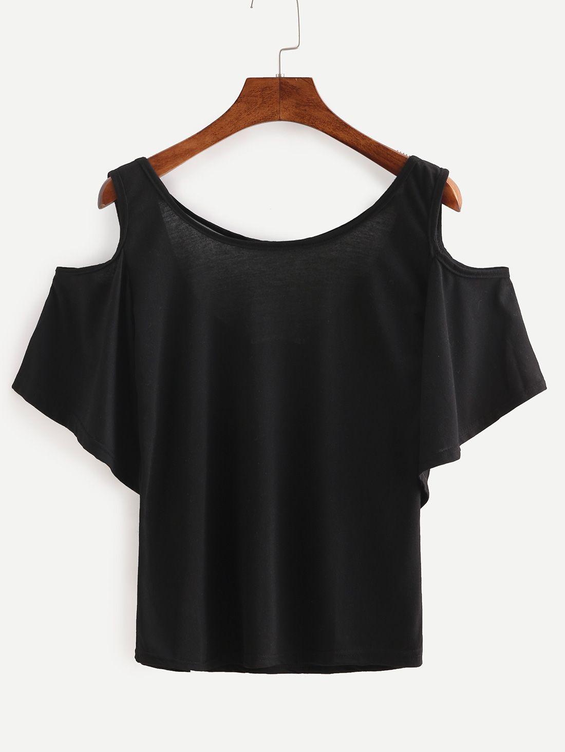 01d2d539460d6 Shop Open Shoulder Cutout Back Top - Black online. SheIn offers Open  Shoulder Cutout Back Top - Black   more to fit your fashionable needs.
