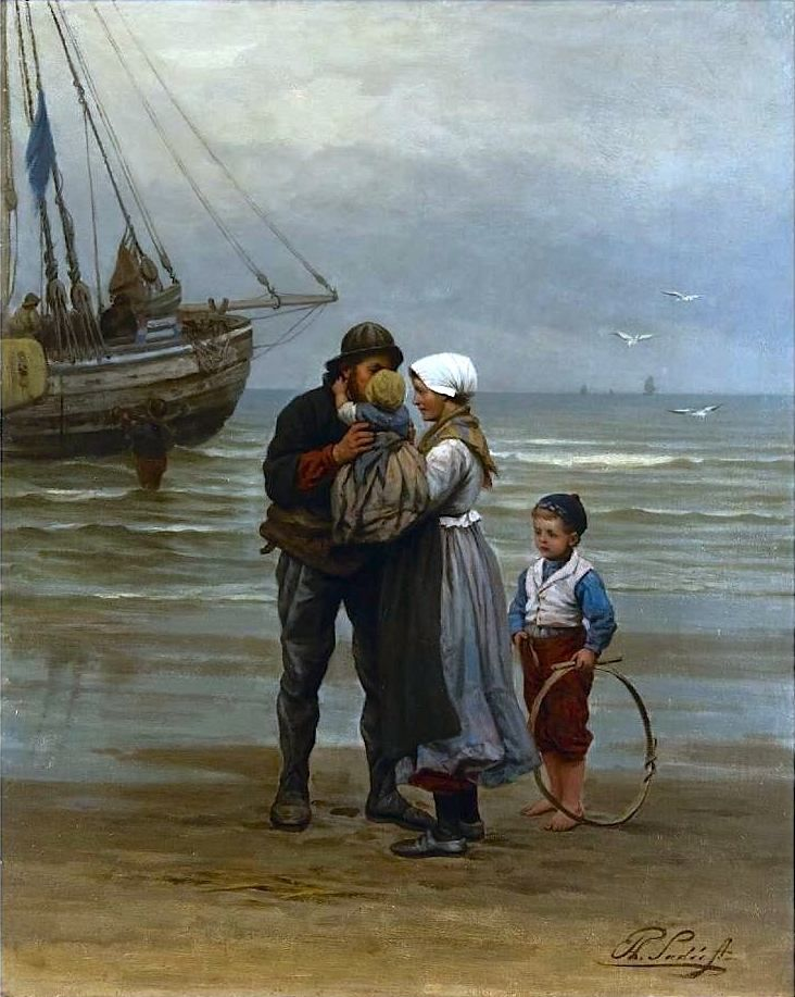 Genremalerei berühmt  Philip Lodewijk Jacob Frederik Sadée (1837 -1904). Afscheid van de ...