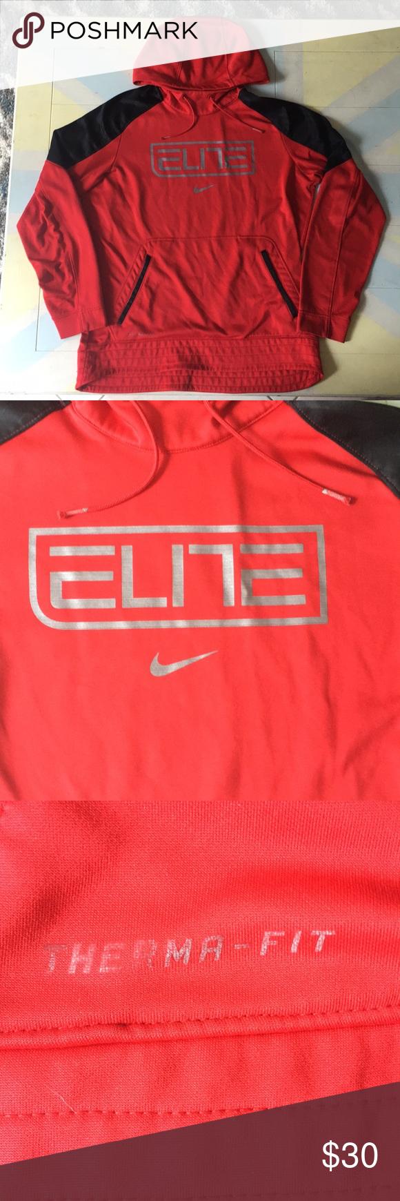 Nike excellent In Elite shape fit RedBlack therma Hoodie fybY67gv