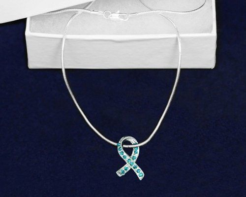 1 Necklace - Retail Fundraising For A Cause Large Pink /& Purple /& Teal Ribbon Necklace in a Gift Box