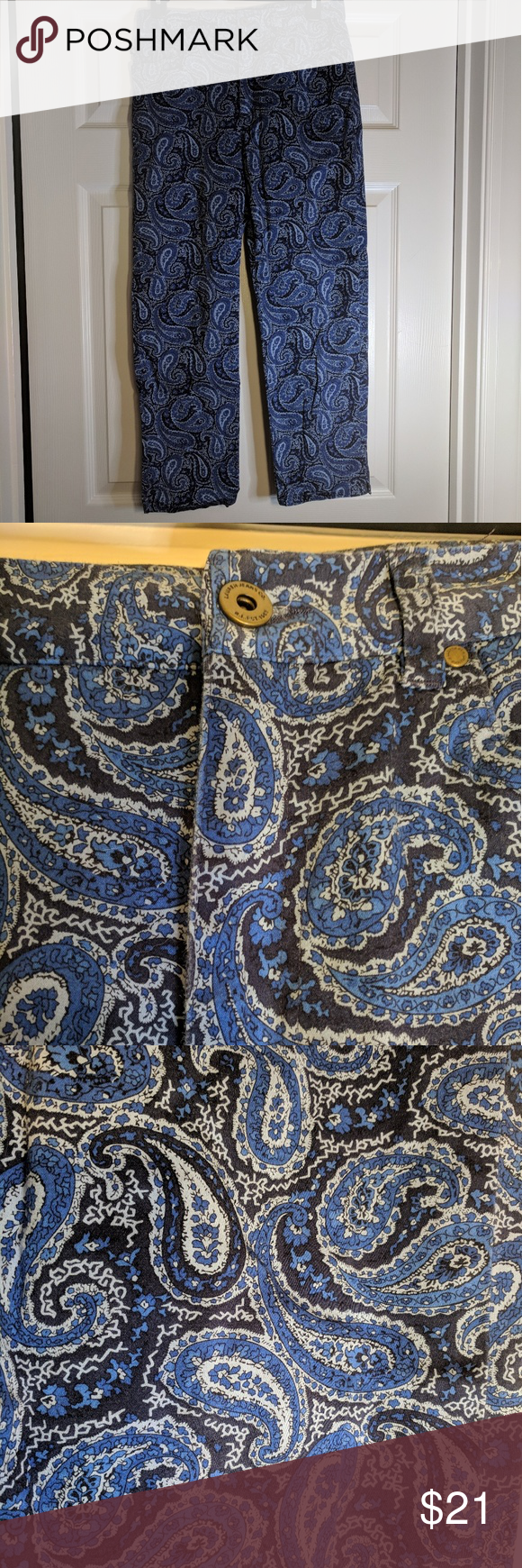 Lauren Ralph Lauren cotton pants Paisley pattern 8 Gorgeous & soft paisley blue pattern on these cotton pants from Lauren by Ralph Lauren.  Pants have a bit of spandex to give them a little stretch.  Button and zip at the waist.  Really unique!  Size 8. Lauren Ralph Lauren Pants Straight Leg