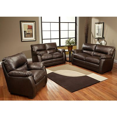 Abbyson Living Aroma 3 Piece Leather Living Room Set Dark Brown Top Grain Leather Sofa Leather Living Room Set Interior Design Family Room
