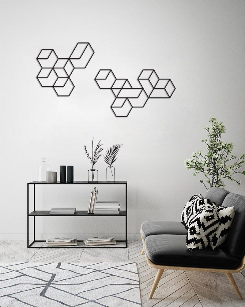 An X Large Black Metal Wall Art Featuring A Geometric Pattern Black Wall Art Set A Unique Mo Modern Living Room Wall Modern Wall Decor Wall Decor Living Room
