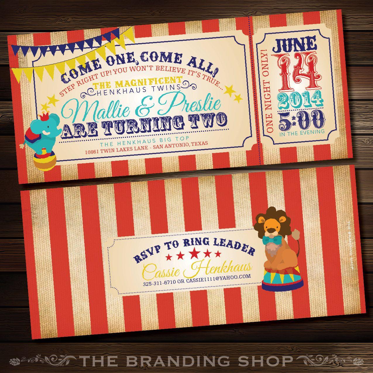 Come One, Come All! - Gender Neutral Circus 4x9 Birthday Invitation ...