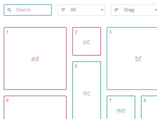 Responsive Filterable And Draggable Grid System - Muuri