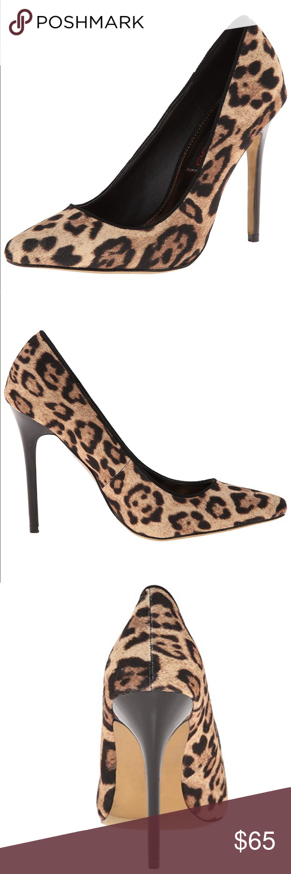 f8b76adc07b2 Joni Joni Leopard Pointed Toe Stiletto Heels 100% Vegan Leather Imported  Heel measures approximately 4