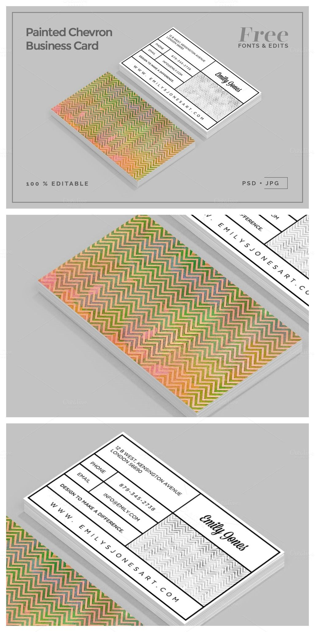 Painted Chevron Business Card I love chevron patterns and I love ...