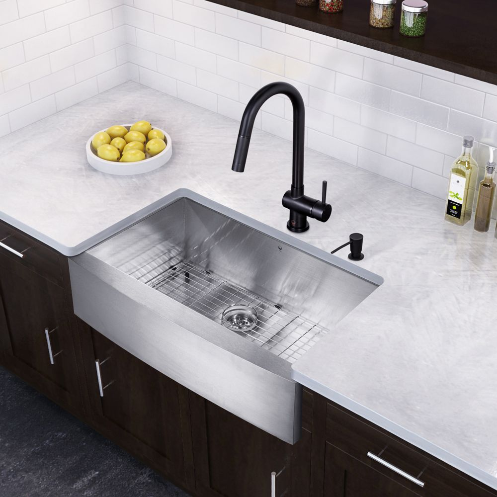 Vigo All In One 36 Inch Stainless Steel Farmhouse Kitchen Sink And
