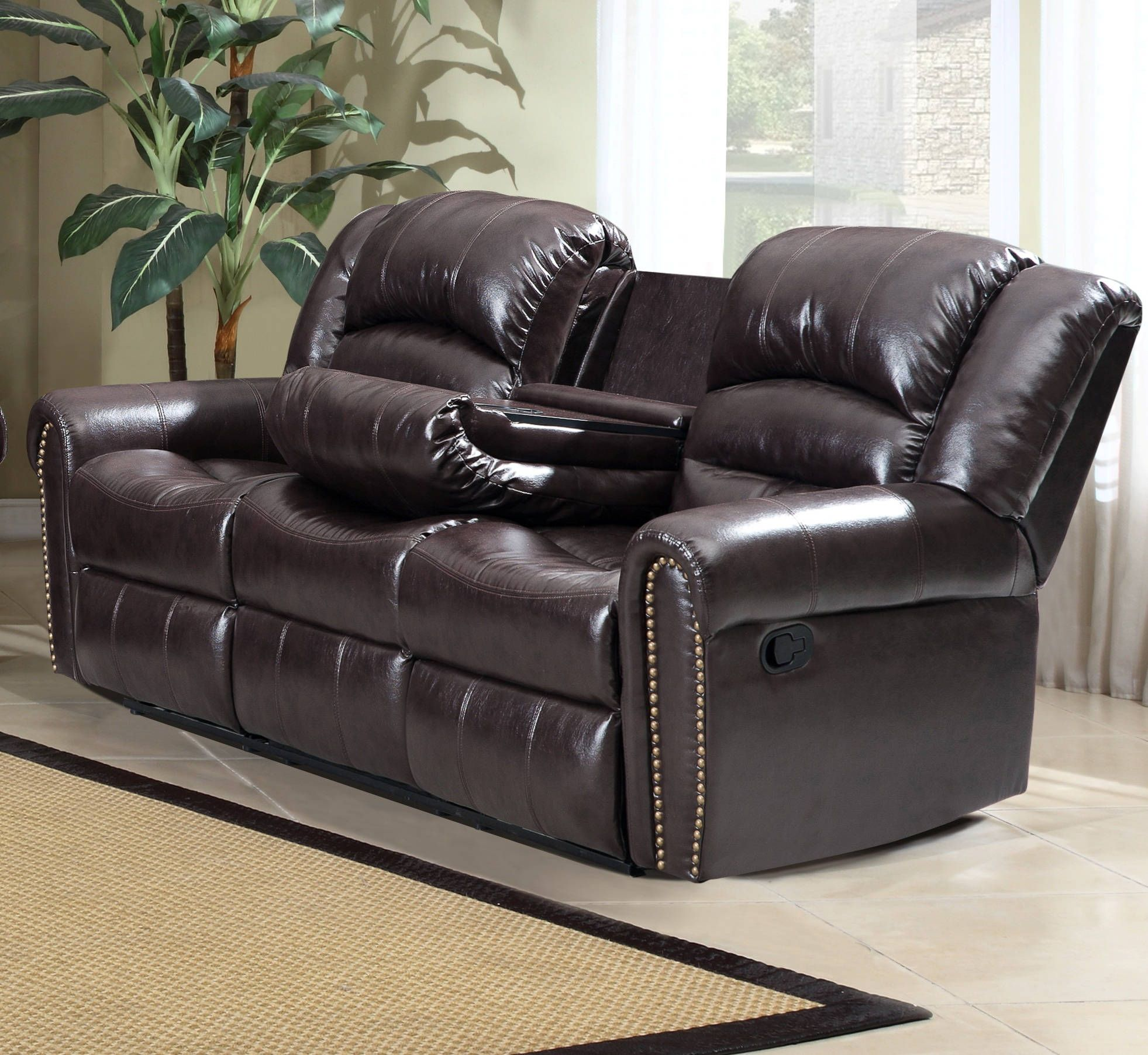 Superior Chelsea Brown Bonded Leather Removable Back Nailhead Design Sofa