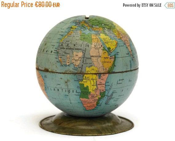 ON SALE Tin World Globe Money Box French by LeBonheurDuJour Map