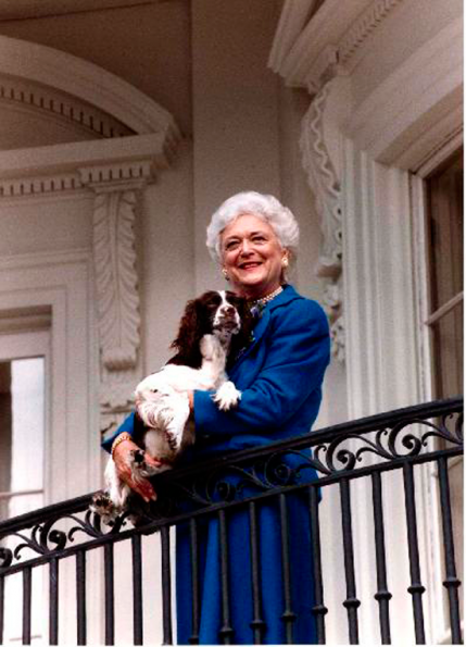First Lady Barbara Bush poses on the Truman Balcony of the White House with her dog Millie (1985-1997) in January 1990.