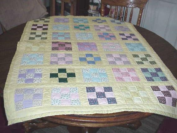 Hey, I found this really awesome Etsy listing at https://www.etsy.com/listing/79197059/hand-quilted-9-patch-baby-quilt-measures
