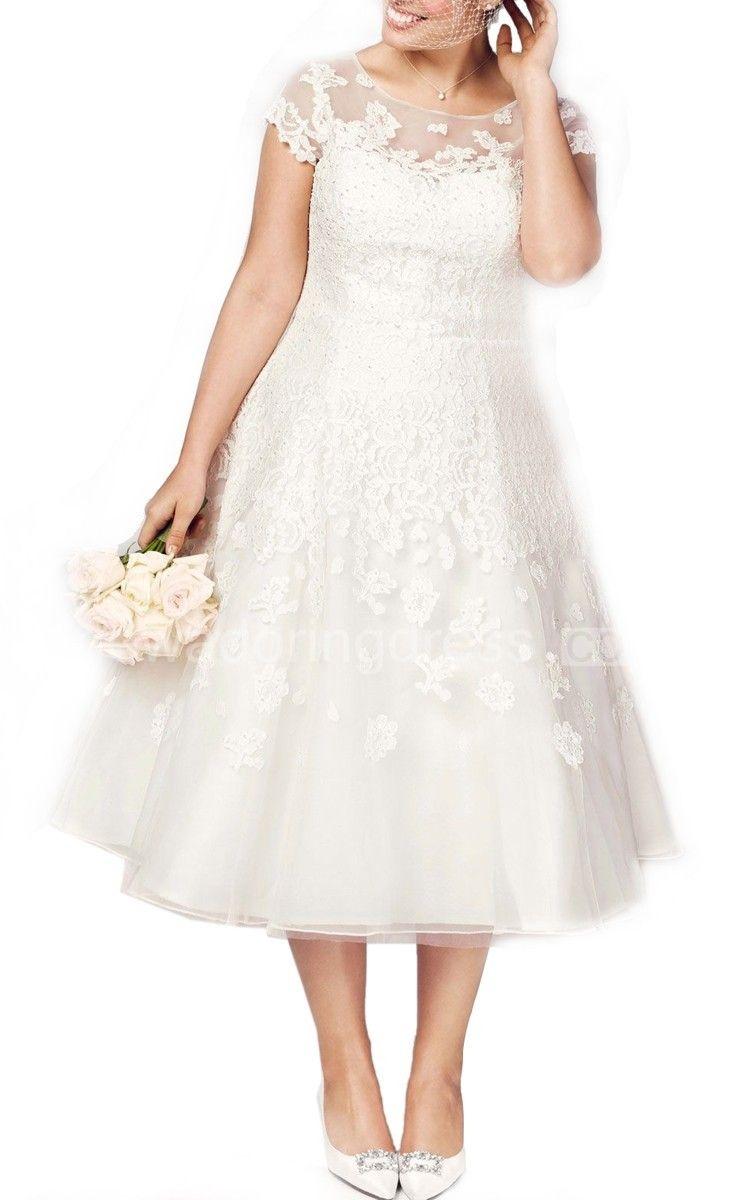 Tea length plus size wedding dresses  Tealength Plus Size Wedding Dress With Cap Sleeve Illusion Neckline