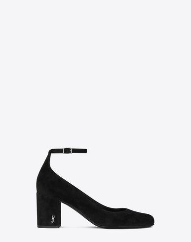 SAINT LAURENT BABIES 70 ANKLE STRAP PUMP IN BLACK SUEDE AND SILVER-TONED  METAL.  saintlaurent  shoes   f7baa79f13
