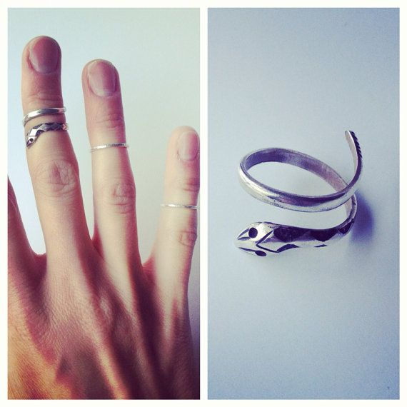 Sterling silver serpent midi knuckle ring $45