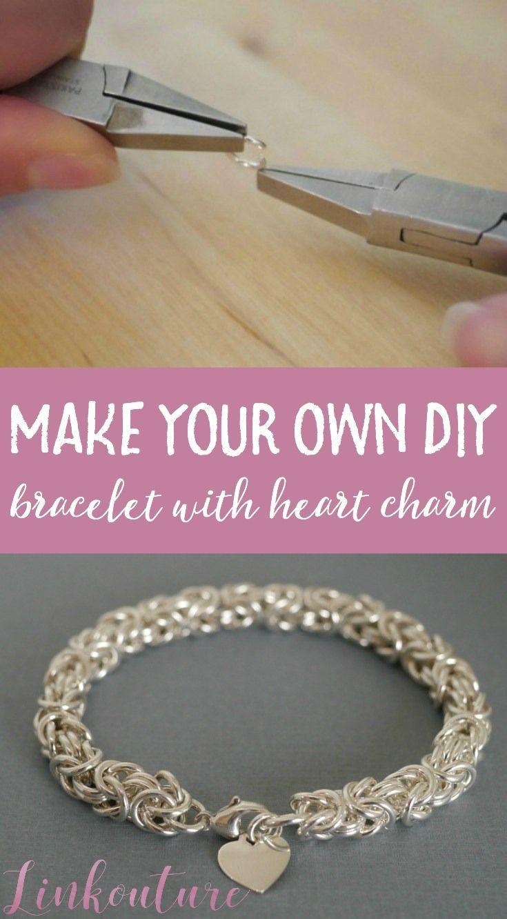 Byzantine chainmaille diy jewelry tutorial byzantine heart charm make your own beautiful diy heart charm bracelet using the byzantine weave it is a lovely gift idea for her or for yourself solutioingenieria Images