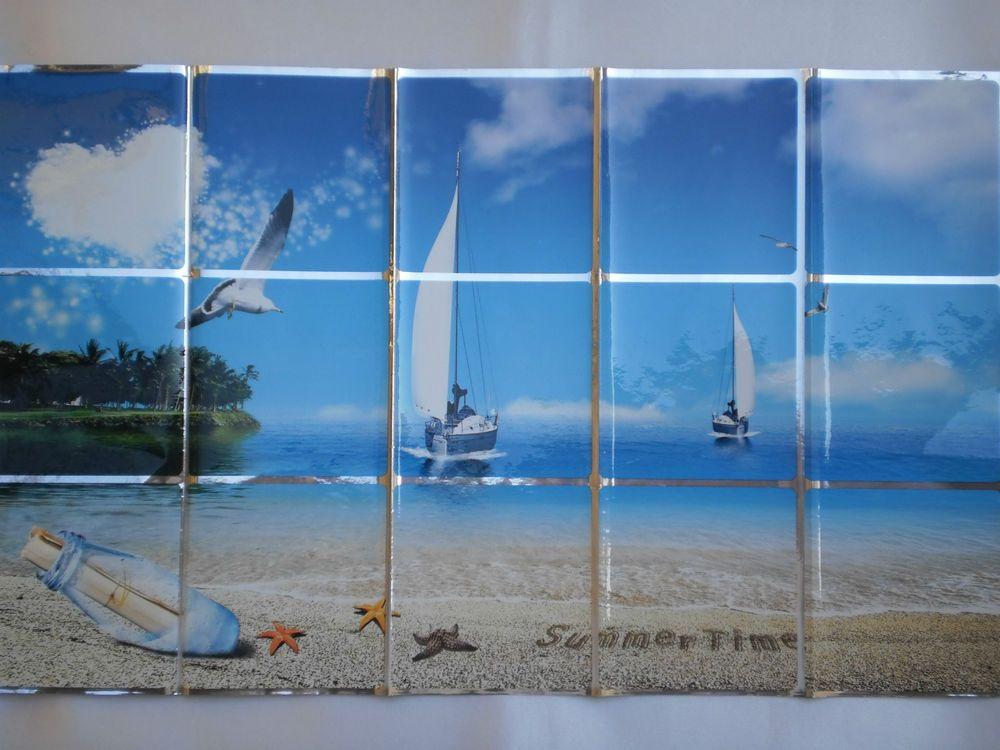Stickers adesivi grandi casa cucina decori piastrelle cm mare