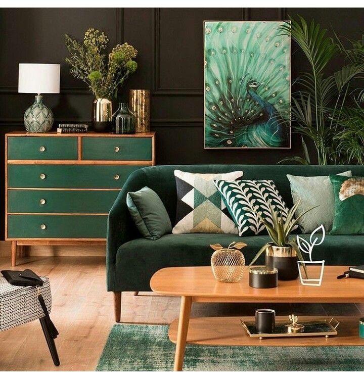 elegant hunter green living room mid century modern styles
