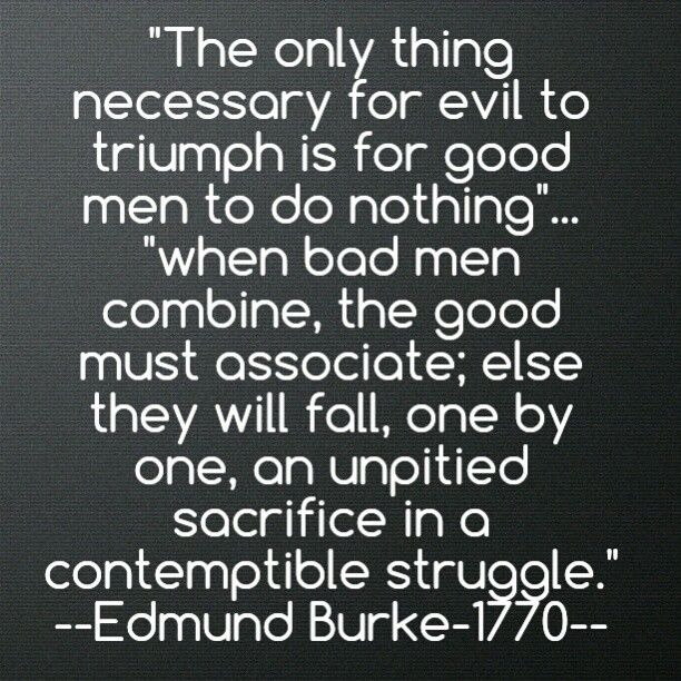 The Only Thing Necessary For Evil To Triumph Is For Good Men To Do