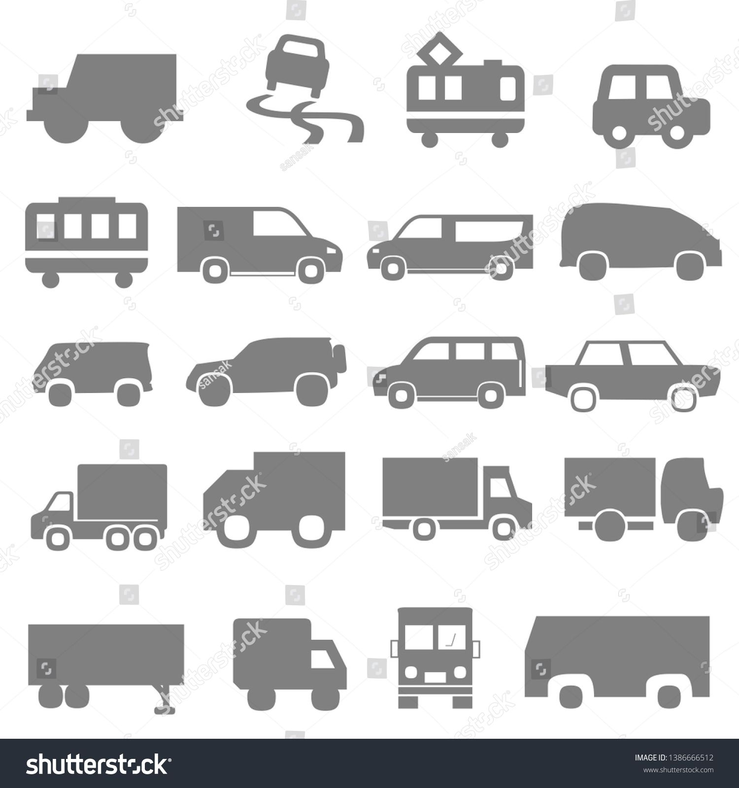 Transport icons. Airplane, Public bus, Train and auto