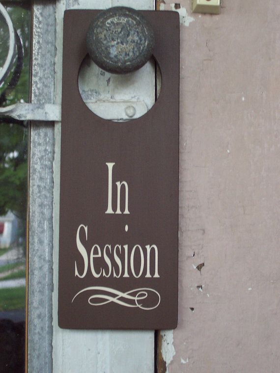 In Session Wood Vinyl Sign Door Knob Hanger Business Signs Spa Salon