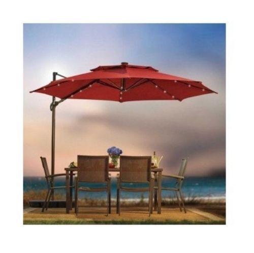 11 Foot Round Umbrella Solar Powered Lights Base Outdoor Patio Furniture Salsa Patio Rectangular Patio Umbrella Patio Umbrella